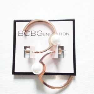 BCBGENERATION Gold Hoop With Pearl Earrings